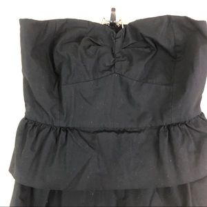 J. Crew Dresses - J.Crew Black Strapless Dress Zipper 4 Ruffles
